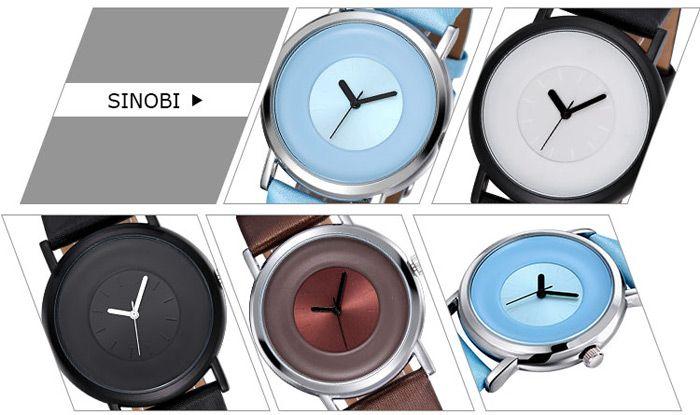 SINOBI 2642 Male Japan Quartz Watch with PU Leather Band