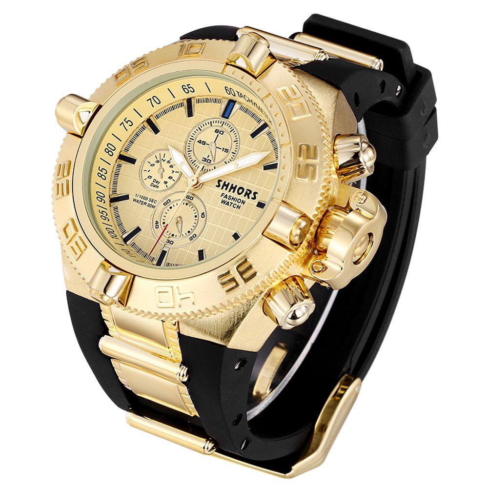SHHORS 2730 Silicone Band Gear Case Quartz Watch for Men