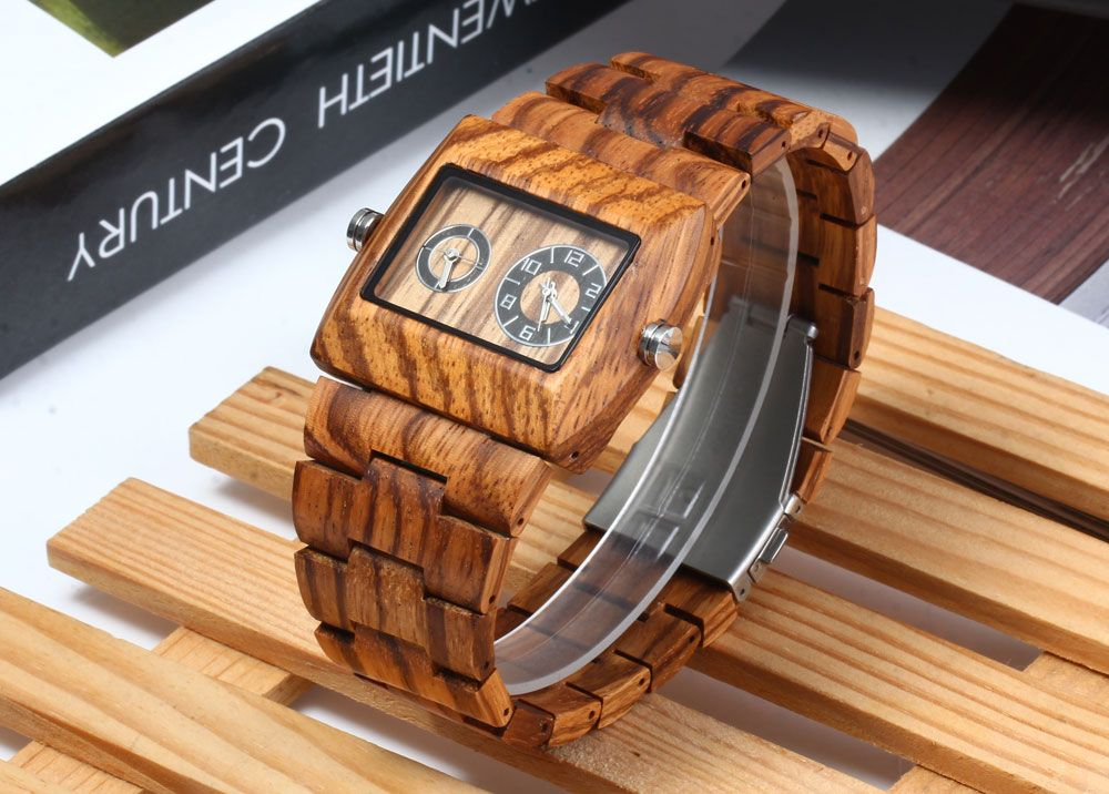 BEWELL ZS - W021C Wooden Men Quartz Watch Double Movement