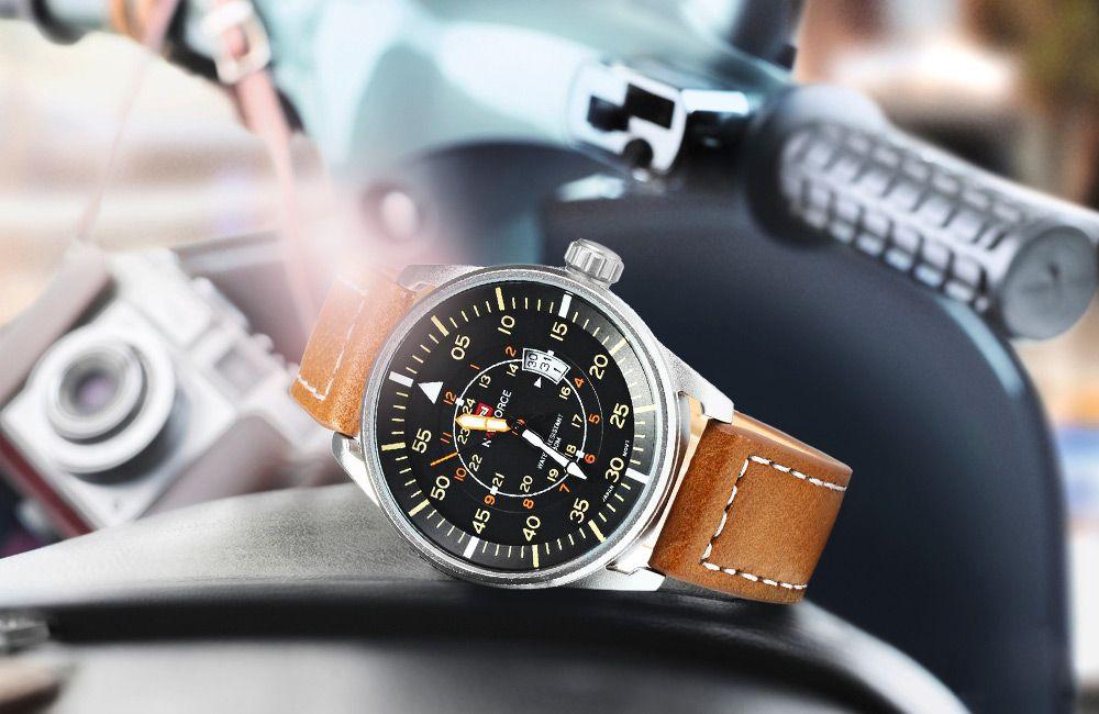 NAVIFORCE NF9044 Men Quartz Watch Analog Wristwatch Date Watches PU Strap