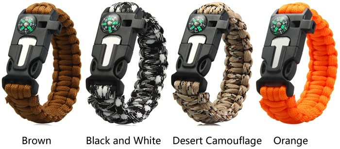 5 in 1 Outdoor Paracord Bracelet / Fire Starter / Whistle / Compass