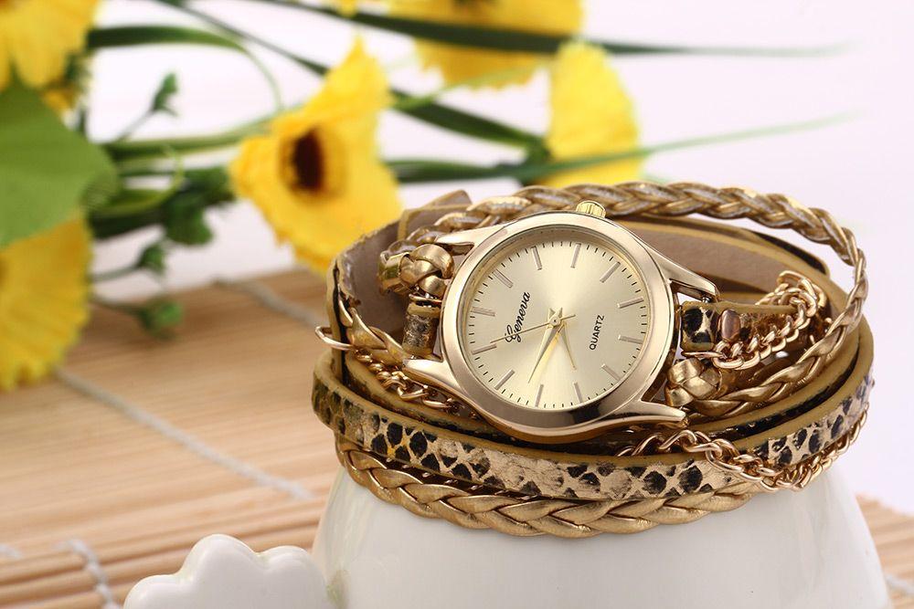 Women Woven Bracelet Quartz Watch Snake Texture Leather Chain