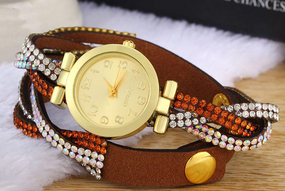 Women Bracelet Quartz Watch Rhinestone Twist Chain
