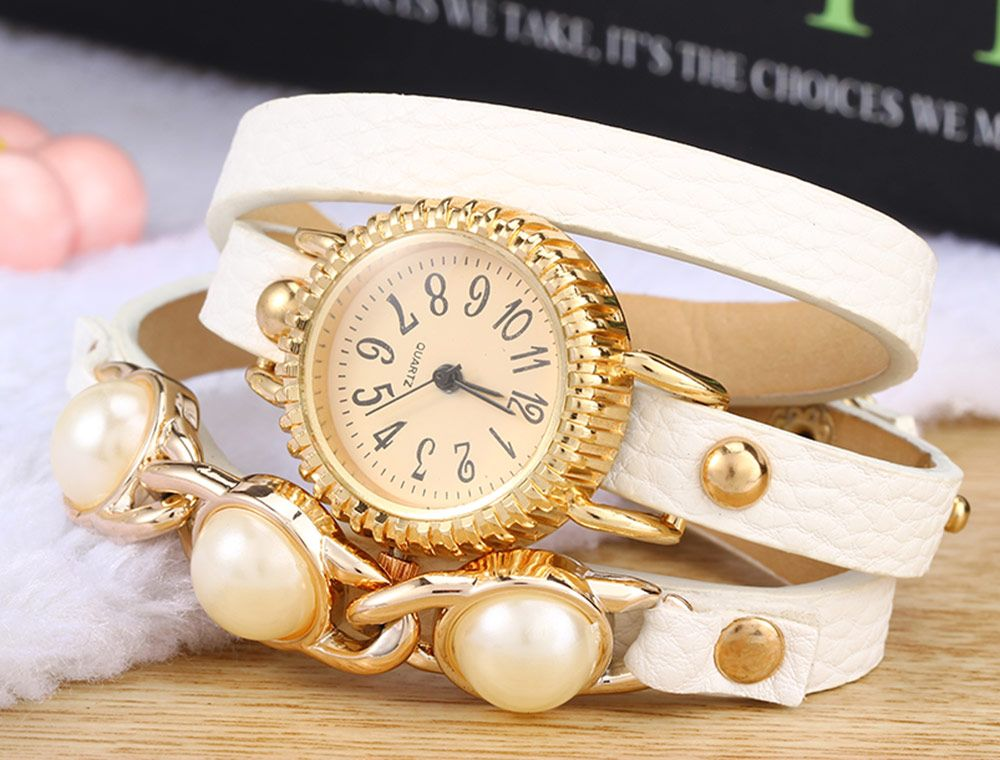 Women Bracelet Quartz Wrist Watch Pearl Leather Strap