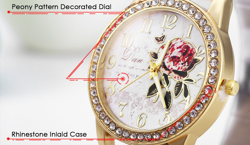 Women Rhinestone Quartz Watch Leather Band Peony Pattern