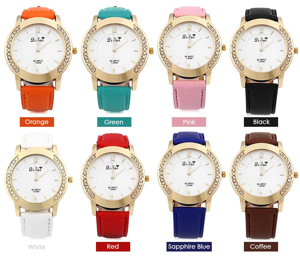 Women Quartz Watch Leather Band Rhinestone Case