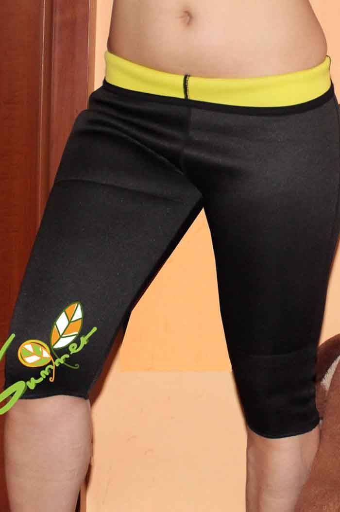 Women Elastic High Waisted Yoga Cropped Pants Polyester Made