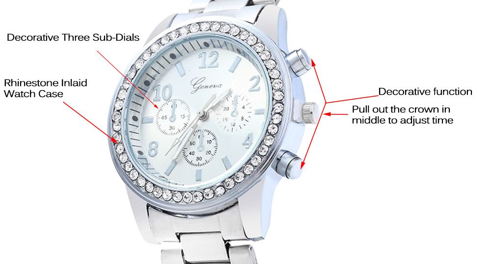 Men Women Rhinestone Quartz Watch Steel Band Decorative Small Sub-dials