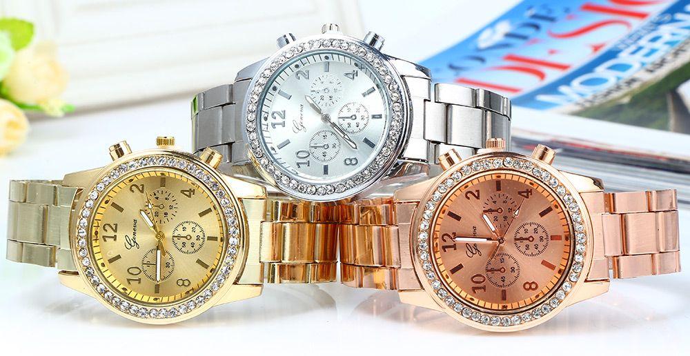 Men Women Rhinestone Quartz Watch Steel Band Decorative Small Sub-dials