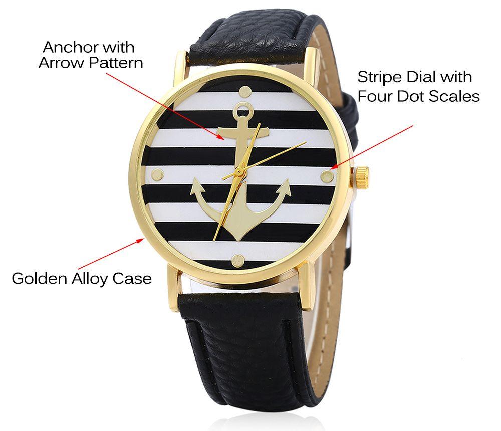 Men Women Quartz Watch Anchor Pattern Dial Leather Band Round Dial