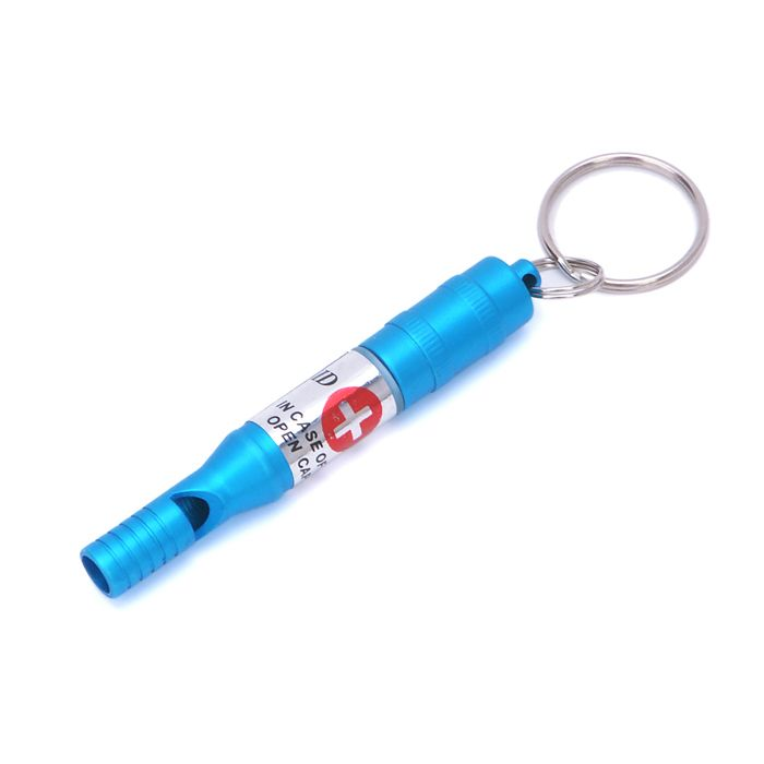 Aluminum Alloy Durable Outdoor Survival Whistle with Key Chain for Help Seeking