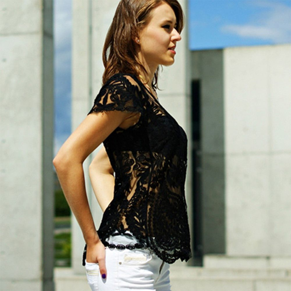 Stylish Scoop Collar Short Sleeve See-Through Solid Color Women's Smock