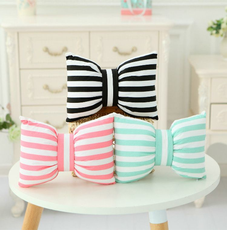 Hot Sale Stripe and Bowknot Shape Design Decorated Cushion Pillow