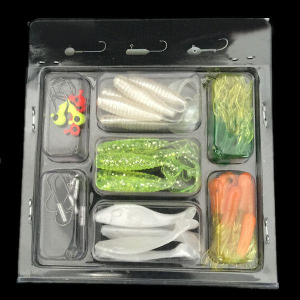 Hot Sale 35 PCS Soft Worm Bait Lure 10 PCS Lead Head Hooks Combination Set