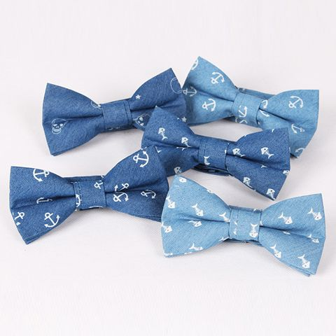 Hot Sale Retro Star and Skull Pattern Denim Bow Tie For Men