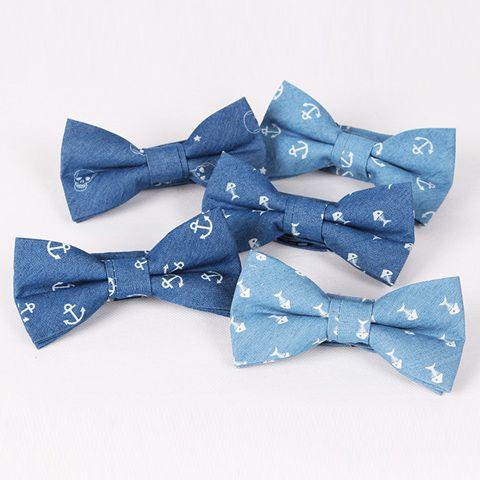 Hot Sale Retro Fishbone Pattern Denim Bow Tie For Men