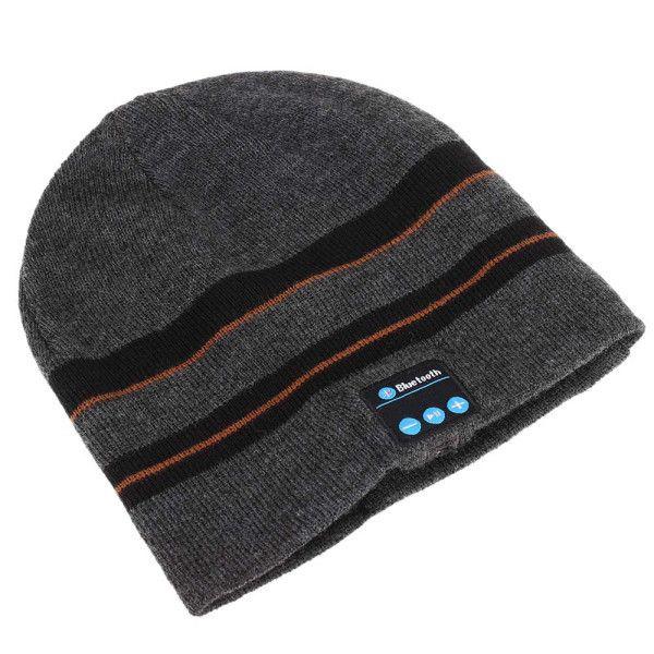 Stylish Outdoor Sports Bluetooth Headphones Speaker Mic Stripe Pattern Winter Knitted Beanie Hat