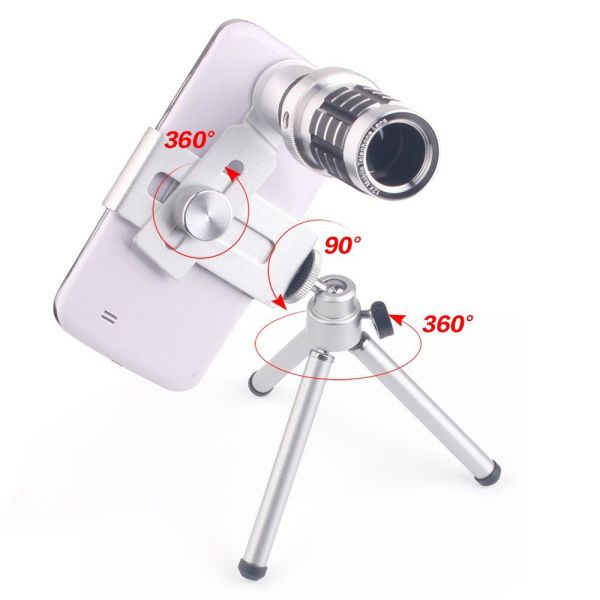 Stylish 12X Wide Angle Monocular Telescope For Mobile Phone Lens with Universal Clip and Tripod