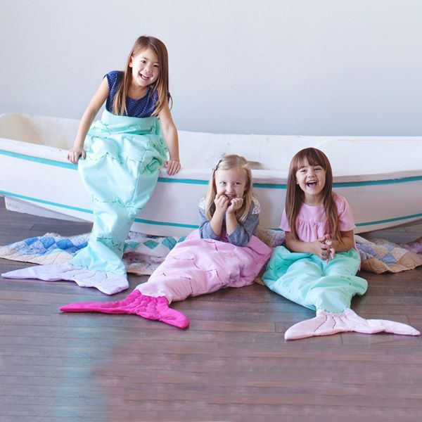 Hot Sale Flannel Double Layer Mermaid Design Kids' Sleeping Bag Blanket