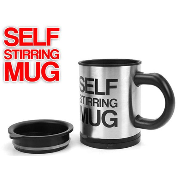 Fashion 350ML Stainless Steel Automatic Stirring Mixing Coffee Cup Mugs