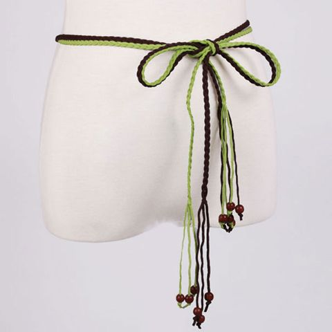 Chic Beads Embellished Candy Color Weaving Waist Rope For Women