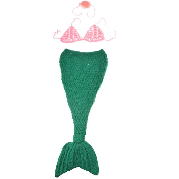 Chic Quality Hand Knitting Cartoon Mermaid Shape Three-Piece Baby Costume Set