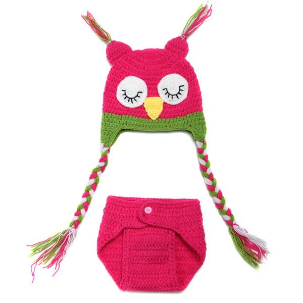 Sweet Owl Shape Handmade Crochet Knitted Beanie Hat and Shorts Set Baby Clothes