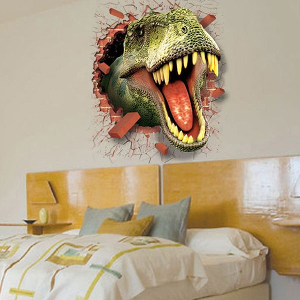 Creative Removable Waterproof Dinosaur Pattern 3D Wall Stickers For Living Room Bedroom Decoration