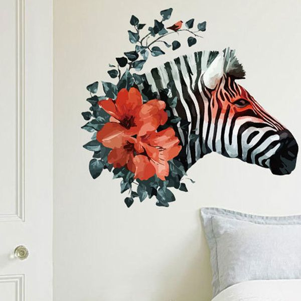 Creative Removable Waterproof Zebra Pattern Wall Stickers For Living Room Bedroom Decoration