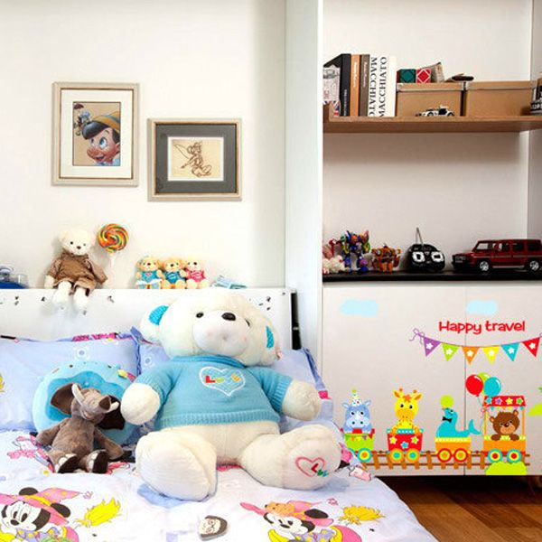 Creative Removable Cartoon Animals Train Pattern Wall Stickers For Children's Bedroom