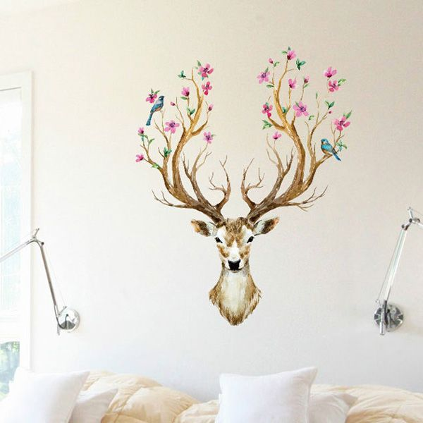 Creative Removable Sika Deer Pattern Wall Stickers For Living Room Bedroom Decoration