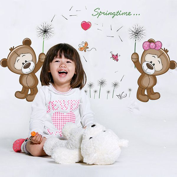 Creative Removable Dandelion Bear Cub Pattern Wall Stickers For Living Room Bedroom Decoration