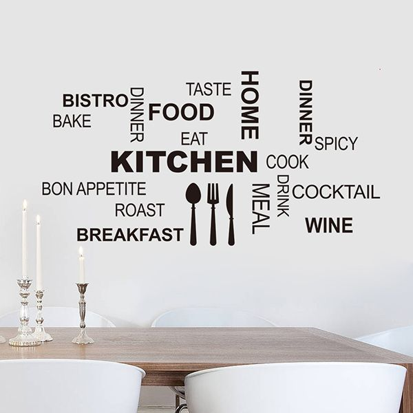 Cute Removable Letter Pattern Wall Stickers For Kitchen Decoration
