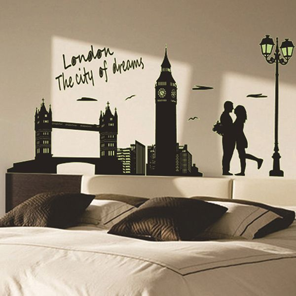 Creative Bedroom Decoration City Landscape Fluorescence Glow Wall Stickers