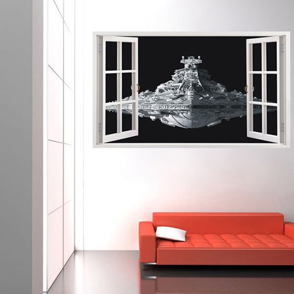 Stylish Removable Spaceship Window Pattern 3D Wall Stickers For Living Room Bedroom Decoration