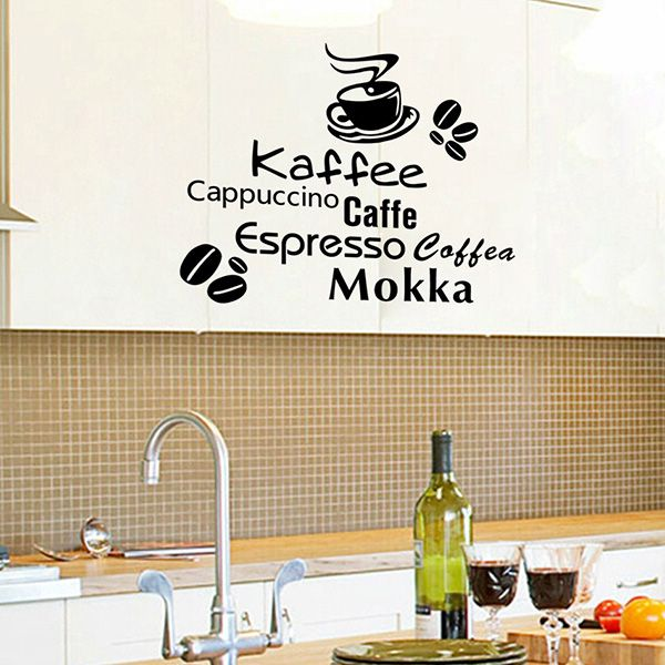 Chic Removable Coffee Letter Pattern Wall Stickers For Kitchen Restaurant Decoration