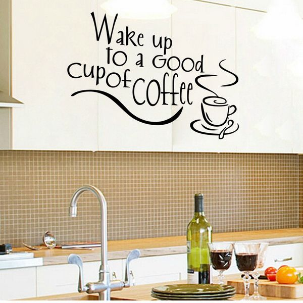Chic Coffee Letter Pattern Wall Stickers For Kitchen Restaurant Decoration