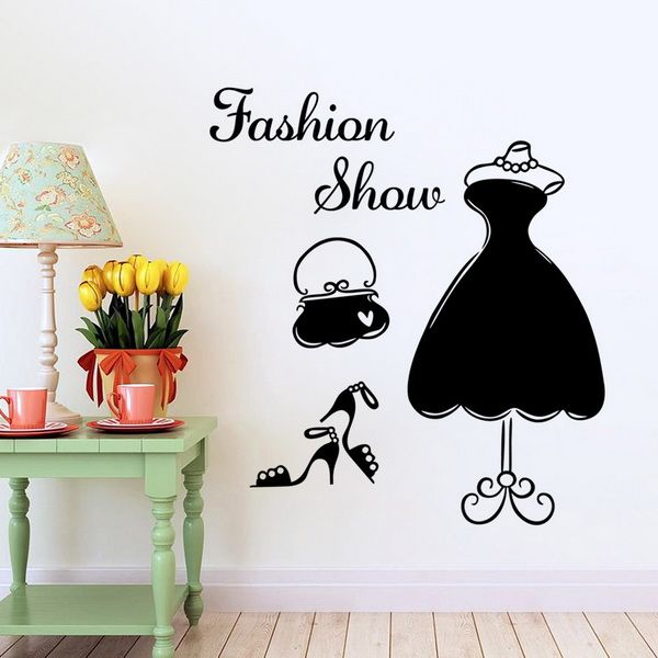 Chic Dress Pattern Wall Stickers For Shopwindow Decoration