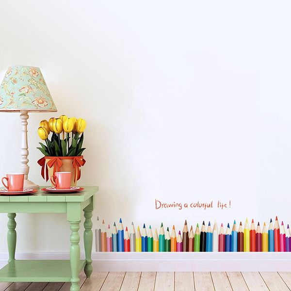 Creative Removable Colorful Pencil Pattern Wall Stickers For Bedroom Skirting Line Decoration