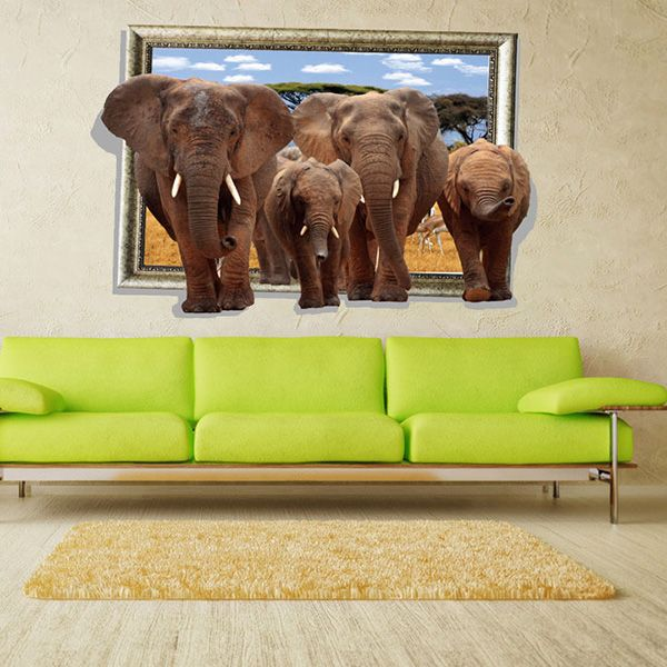 Stylish Elephants Picture Frame Pattern 3D Wall Stickers For Living Room Bedroom Decoration