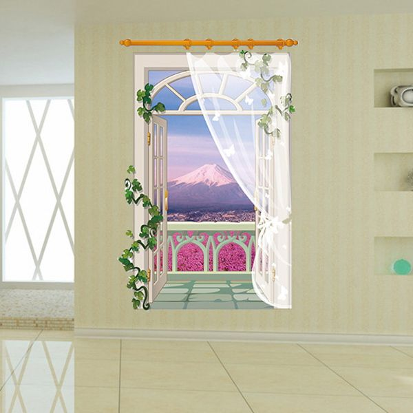 Stylish Balcony Landscape Pattern 3D Wall Stickers For Living Room Bedroom Decoration
