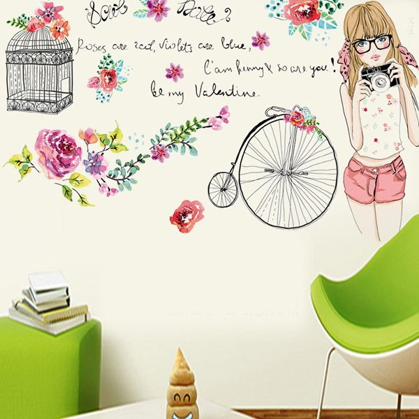 Creative Removable Young Girl Pattern Wall Stickers For Living Room Bedroom Decoration
