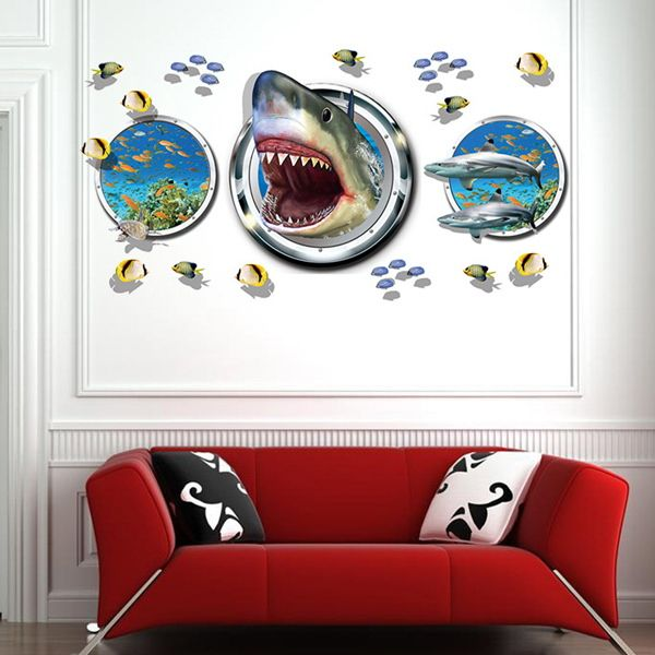 Underwater World Pattern 3D Wall Stickers For Living Room Bedroom Decoration