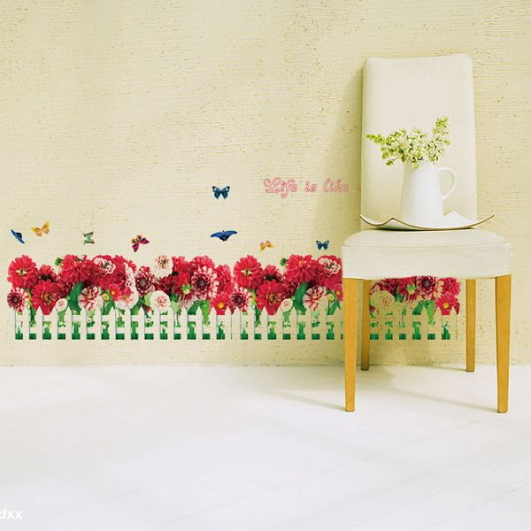 Creative Removable Floral Fence Pattern Wall Stickers For Bedroom Skirting Line Decoration