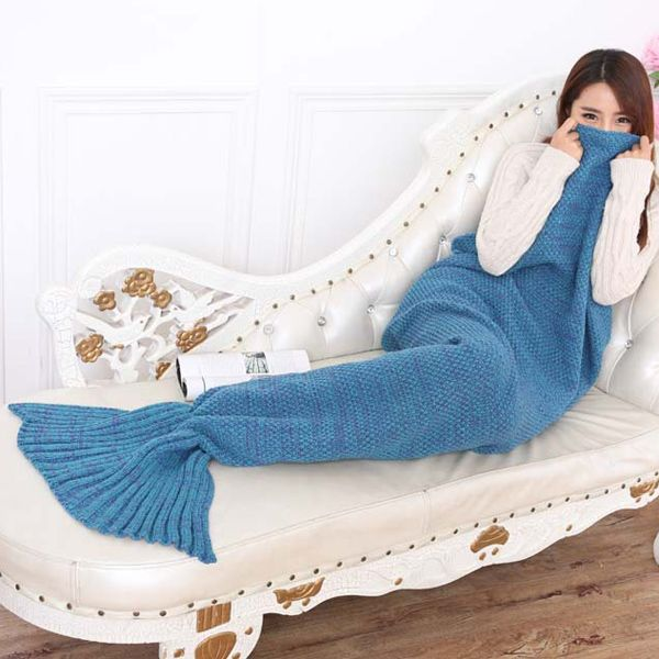 Fashion Summer Nap Fish Tail Shape Mermaid Design Knitting Blanket