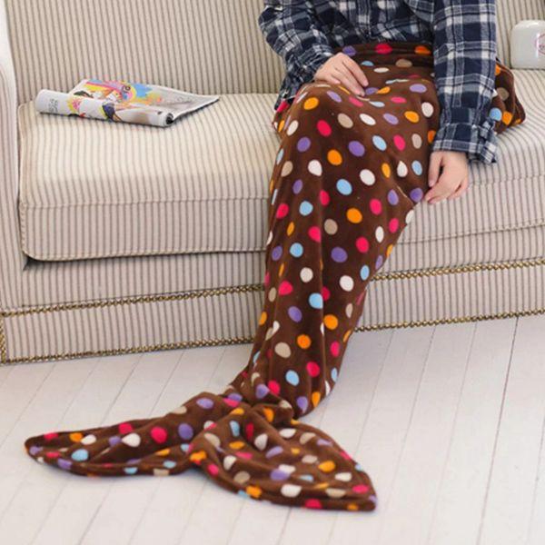 Fashion Summer Nap Fish Tail Shape Colorful Polka Dot Pattern Mermaid Design Blanket