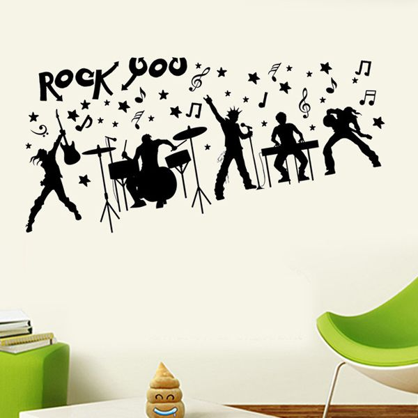Fashion Rock Band Silhouette Pattern Wall Sticker For Livingroom Bedroom Decoration