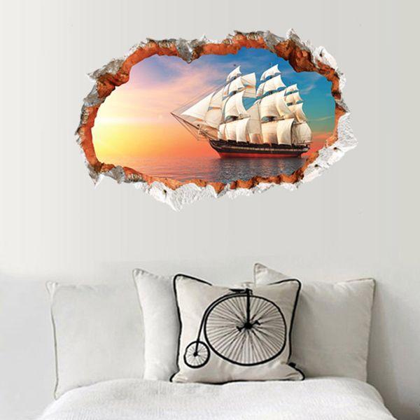 Stylish 3D Sailing Ship Pattern Wall Sticker For Livingroom Bedroom Decoration