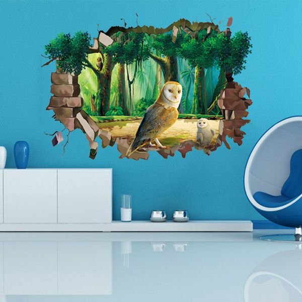 Stylish 3D Night Owl Forest Pattern Wall Sticker For Livingroom Bedroom Decoration