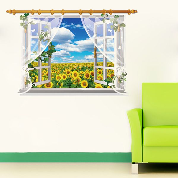 Stylish 3D Window Sky Landscape Pattern Wall Sticker For Livingroom Bedroom Decoration